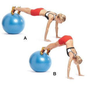 Упражнение для похудения на гимнастическом мяче